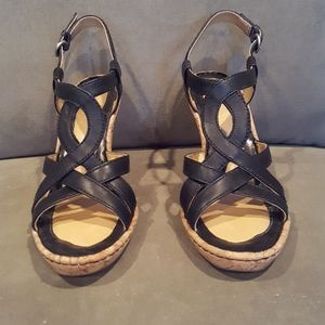 Black Leather Strappy Sandals by Born - Size 7